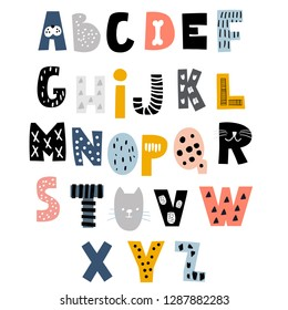Decorative alphabet in animal style. Creative Kids font. Great for education, home decor. It Be used for funny t-shirt quotes,poster,cards and kids fashion prints. Vector Illustration