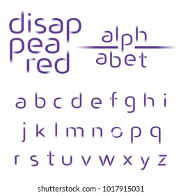 Decorative alphabet, disappeared lines vector font, sans serif style letters, typography for business, titles, headlines, presentations, logos & other projects