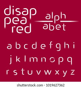 Decorative alphabet, disappeared lines vector font, sans serif style letters, typography for business, titles, headlines, presentations, logos & other projects.