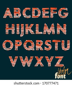 Decorative alphabet red and white, capitals, vector font