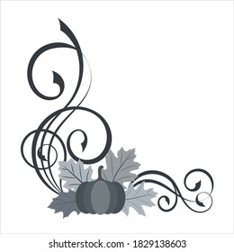Decorative angle border with pumpkin, leaves, cranberry and swirl pattern. Halloween or thanksgiving vector illustration on white background