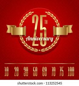 Decorative anniversary golden emblem - vector illustration (red background - seamless)