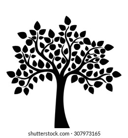 Decorative apple tree. Black and white tree. Vector illustration.