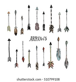 Decorative arrows collection. Hand drawn vector design set.