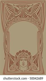 Decorative Art Nouveau border vector.