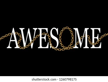 """Decorative """"Awesome"""" text with golden chain illustration"""