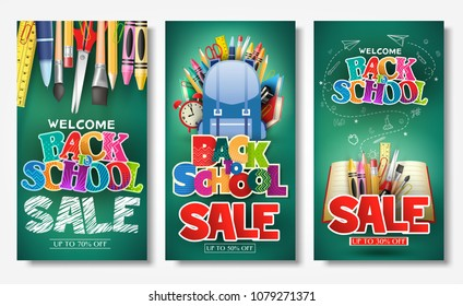 Decorative Back to School Sale Text in Green Chalkboard Background Promotional Poster and Banner Set Consisting of Different School Supplies for Marketing Purposes
