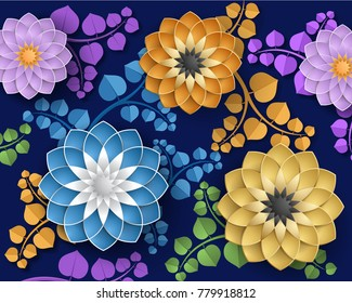 Decorative background with 3d colorful flowers, colorful wallpaper