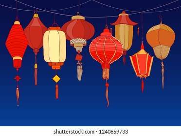 Decorative background with Chinese red paper street lanterns of various shapes and sizes. Backdrop with beautiful traditional Asian festival decorations. Colorful realistic vector illustration.