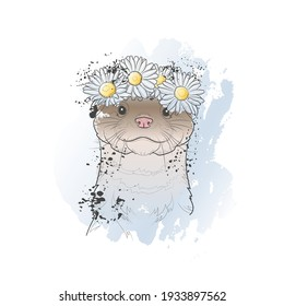 Decorative background with cute otter (head) and wreath of chamomile flowers. Card template design. Vector illustration.