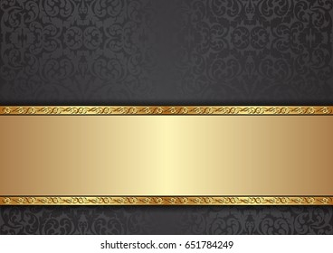 decorative background with floral pattern and golden ornaments