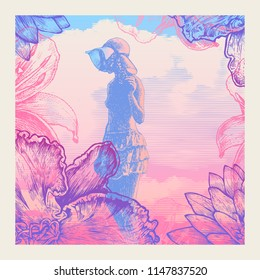 Decorative Background With Girl, Clouds And Fowers. vintage engraved style. vector illustration