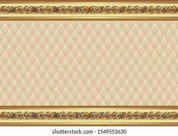 decorative background with golden ornament and vintage pattern