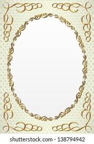 decorative background with golden oval frame