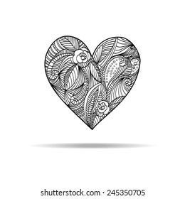 Decorative background with graphic patterned heart. Contour black hand drawn element isolated on white background.