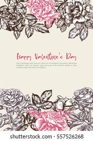 Decorative background with hand-drawn vintage roses, vector illustration for valentine's, womens day or wedding. Purple and pink flowers  frame with place for text.