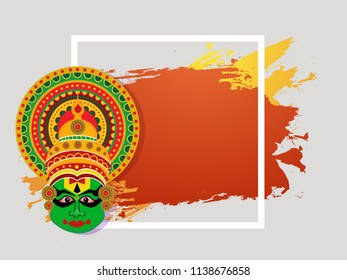 decorative background with kathakali face for South Indian Festival Onam.