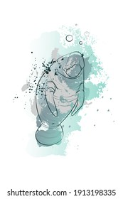 Decorative background with Manatee (Sea cow). Vector illustration.