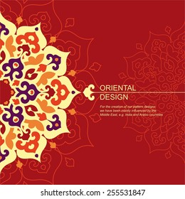 Decorative background with ornamental element in oriental style. Islam, Arabic, Asian motifs