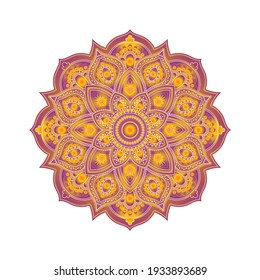 Decorative background with ornamental round pattern (mandala). Element for design in indian style. Vector illustration.
