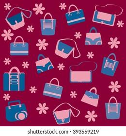 Decorative background with trendy handbags. Vector.