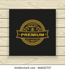 Decorative  badge or frame or label  in vintage style gold on black  or Template for advertising cosmetic perfumer  clothes high or premium quality or for decorate other things