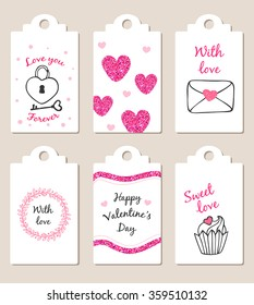 Decorative badges with pink glitter elements for Valentine's day