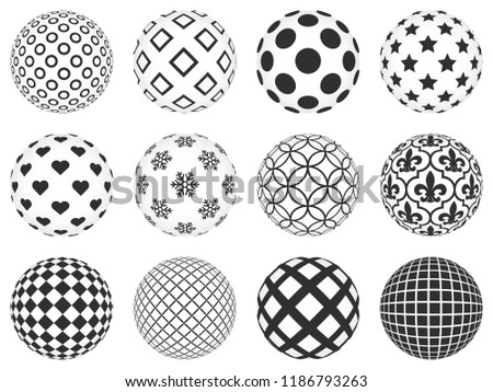 Decorative Balls Beautiful Patterns On Them Stock Vector Royalty Fascinating Black And White Decorative Balls