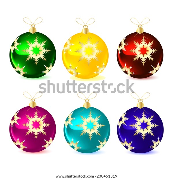 Decorative balls for the Christmas tree. Vector illustration