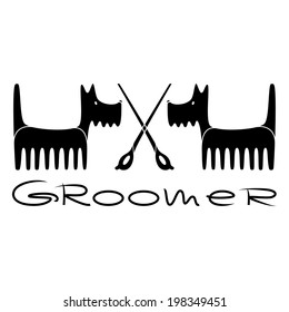 Decorative banner for groomer with cartoon dogs
