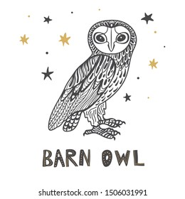 Decorative Barn Owl Tattoo Design