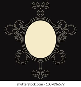 decorative baroque frame, oval vector floral border, victorian design