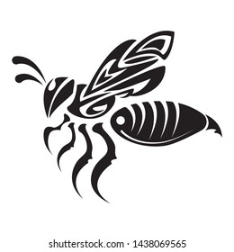 Decorative bee ornament animal concept for tattoo design. flying honey bee. silhouette honey bee icon vector.