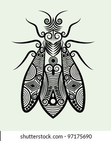 Decorative bee ornament animal concept with nature ornament for tattoo design