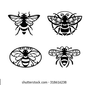 Decorative bee sign. Set for logo