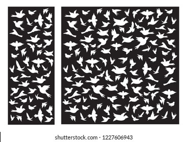 Decorative birds laser cut panel