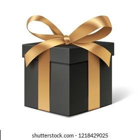Decorative black gift box with golden bow isolated on white for black friday sale design. Vector illustration