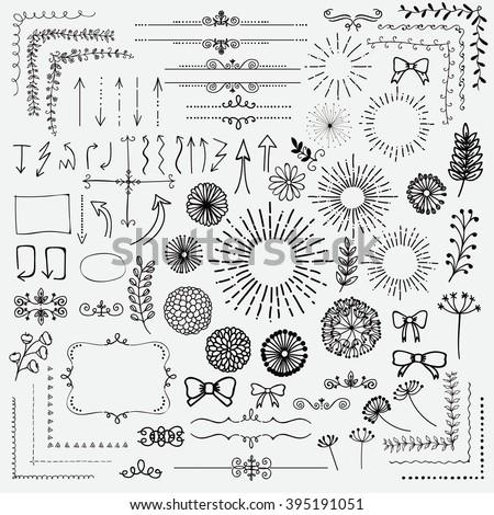 decorative black hand sketched rustic floral のベクター画像素材
