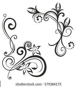 Decorative black pattern on a white background