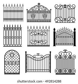 Decorative black silhouettes of fences with gates vector set. Decoration architecture lattice structure illustration