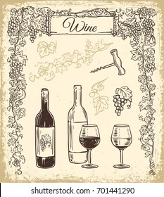 Decorative black square frame with bunch of grapes, grape leaves, swirls and wine bottle vector illustration.