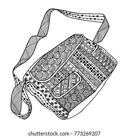 Decorative black and white bag. Hand drawn vector ornamental template for greeting cards, coloring books, print on textile, t-shirts, clothing. Template for coloring pages for adults, antistress, art