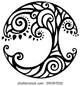 decorative black and white life tree, vector illustration, round ornament