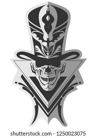 Decorative black and white rockabilly skull in top hat memorable bizarre art for sticker, tattoo or t-shirt printing
