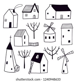 Decorative black and white town: houses, church, mill and trees. Stylized city collection. Street. Cottages. City landscape. Line art buildings. Children's art set.