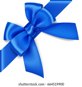 Decorative blue bow with diagonally ribbon on the corner. Vector bow for page decor