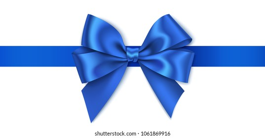 Decorative blue bow with horizontal blue ribbon isolated on white background. Vector illustration
