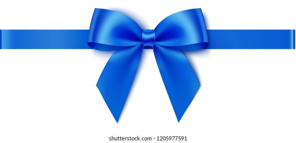 Decorative blue bow with horizontal ribbon for gift decor. Holiday decoration. Vector bow and ribbon isolated on white