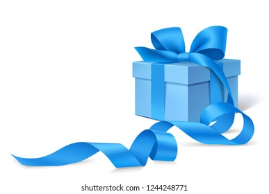 Decorative blue gift box with blue bow and long ribbon isolated on white background. New Year decoration. Vector illustration