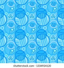 decorative blue monochrome doodled circles seamless pattern tile for cheerful modern surface designs, textile, fabric, wallpaper, background, templates and backdrop